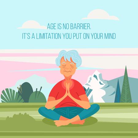Una anciana haciendo yoga al aire libre. Lleva un estilo de vida activo y saludable. Ilustración vectorial en estilo de dibujos animados