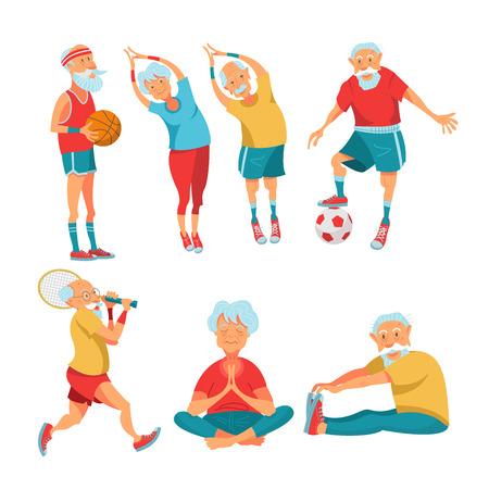 Conjunto de deportistas mayores. Las personas mayores llevan un estilo de vida activo y saludable. Los hombres y mujeres mayores hacen yoga, juegan tenis, juegan baloncesto y fútbol. Ilustración de vector de estilo de dibujos animados. Ilustración de vector