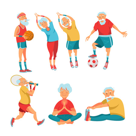 Set of elderly athletes. Older people lead a healthy and active lifestyle. Older men and women do yoga, play tennis, play basketball and football.  Vector illustration in cartoon style. Vettoriali