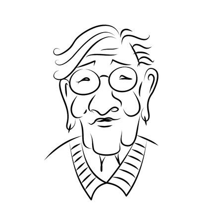 Retrato de una anciana con gafas. Dibujado a mano. Bosquejo. Gráficos en blanco y negro.