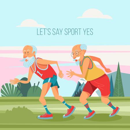 Ältere Männer sind damit beschäftigt, an der frischen Luft zu laufen. Sie führen einen gesunden und aktiven Lebensstil. Vektorillustration im Cartoon-Stil.