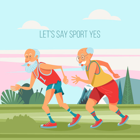 Older men are engaged in running in the fresh air. They lead a healthy and active lifestyle. Vector illustration in cartoon style.