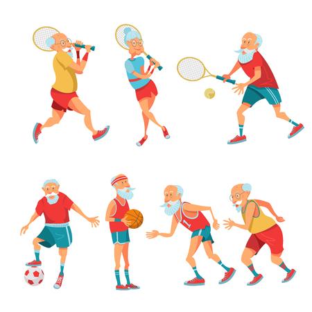 Conjunto de deportistas mayores. Las personas mayores llevan un estilo de vida activo y saludable. Hombres y mujeres mayores corren, juegan tenis, baloncesto y fútbol. Ilustración de vector de estilo de dibujos animados.