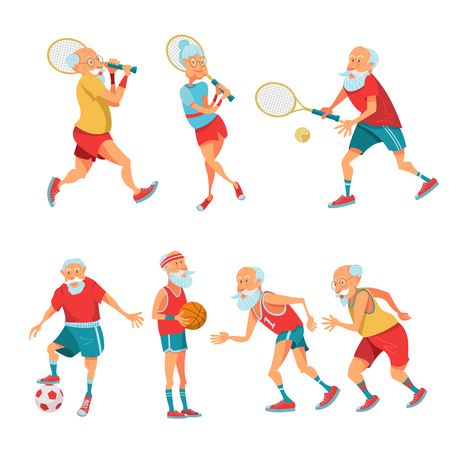 Set of elderly athletes. Older people lead a healthy and active lifestyle. Older men and women are running, playing tennis, basketball and football. Vector illustration in cartoon style.