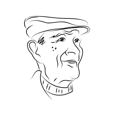 Portrait of an elderly man in a cap. Hand drawn. Sketch. Black and white graphics. Ilustracja