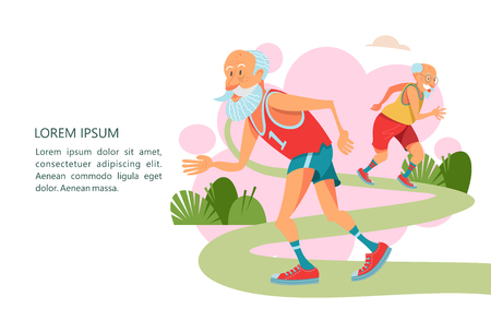 Older men are engaged in running in the fresh air.  They lead a healthy and active lifestyle. Vector illustration in cartoon style. Illusztráció