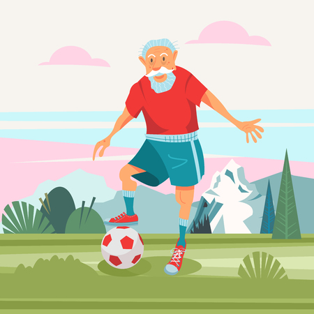 An elderly man playing football in the fresh air. He leads a healthy and active lifestyle. Vector illustration in cartoon style.