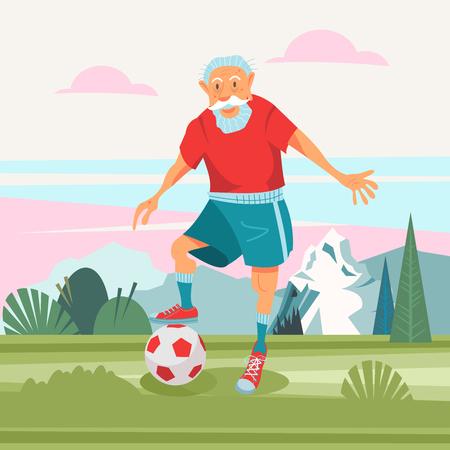 Ein älterer Mann, der an der frischen Luft Fußball spielt. Er führt einen gesunden und aktiven Lebensstil. Vektorillustration im Cartoon-Stil.