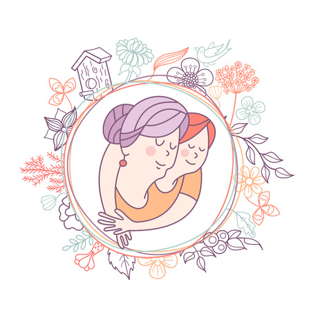 Best grandma. Grandmother and her beloved grandson. Day of the elderly person. Family day. Cute vector greeting card. The concept of a happy family, a happy old age in the circle of loving relatives. Ilustración de vector