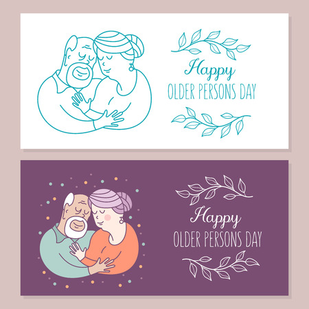 Grandparents have been together all their lives. Day of the elderly person. Family day. Cute vector greeting card. The concept of a happy family, a happy old age in the circle of loving relatives.