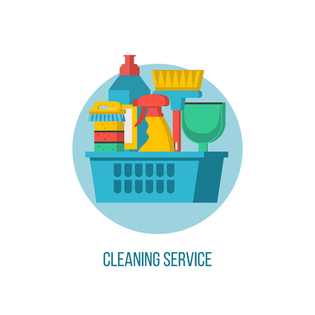 Cleaning service. Vector logo. Set of items for cleaning. Basket with cleaning products and brushes