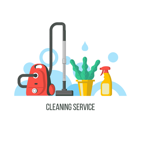 Cleaning. Vector logo. Set of items for cleaning. Vacuum cleaner, spray and houseplant.  イラスト・ベクター素材