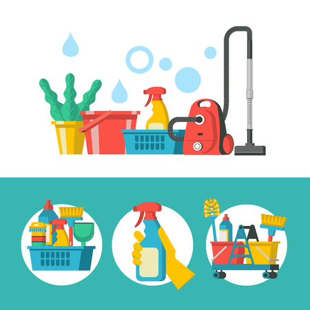 Cleaning service. Vector logo. Set of items for cleaning. Basket with cleaning products and brushes. Sign clean floor. Hand in yellow rubber glove holding spray.
