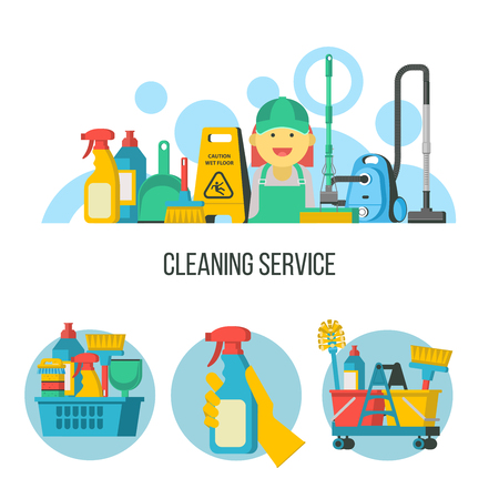 Service cleaning. Colorful vector illustration, Emblem. Cleaning kit. Cheerful maid, cleaning lady in overalls.