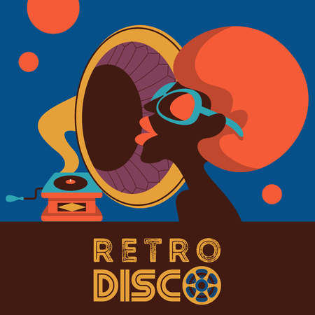 Retro disco party. Colorful vector illustration, poster. Beautiful black girl and gramophone.