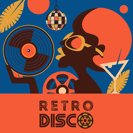 Retro disco party. Colorful vector illustration, poster. Beautiful black girl with vinyl record in hand.