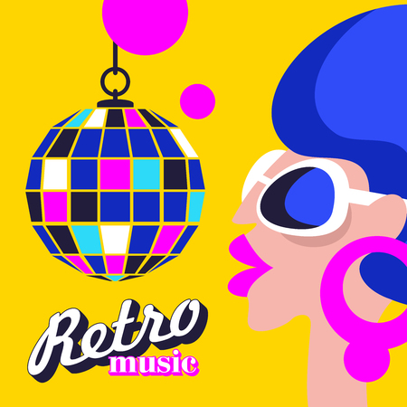 Retro disco party. Colorful vector illustration, poster. Beautiful girl in sunglasses and disco ball.