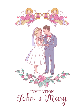 Happy weddings. Wedding card. Wedding invitation. Bride and groom in wedding costumes. Two angels hold wedding crowns over the heads of the bride and groom. Wreaths and roses. Cute vector illustration.