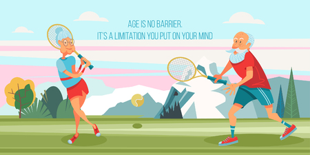 An elderly woman and an elderly man playing tennis in the fresh air.  They lead a healthy and active lifestyle. Vector illustration in cartoon style.