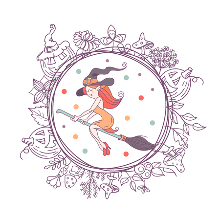 Happy Halloween. Vector illustration. The invitation to the party. A witch in a hat flying on a broom. A wreath of scary pumpkins, autumn herbs, mushrooms, berries and leaves. Illustration