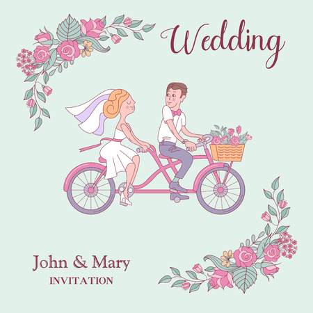 Happy weddings. Wedding card. Wedding invitation. Cheerful bride and groom riding a bike. Frame of roses. Cute vector illustration. 向量圖像