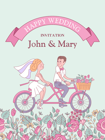 Happy weddings. Wedding card. Wedding invitation. Cheerful bride and groom riding a bike. Glade of roses and herbs. Cute vector illustration.