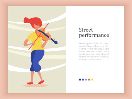 Street musician. A girl with red hair in blue trousers plays the violin. Vector illustration.