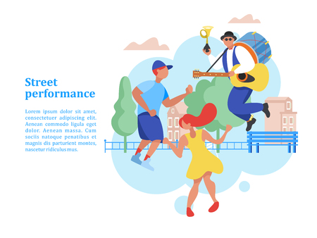 Street musician. Man band. Musician with drum, guitar and trumpet playing musical instruments and dancing. Man and woman dancing. Street performance. Vector illustration.