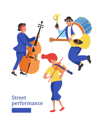 Street musician. Man band, a girl playing the violin, a man playing the double bass. Street performance. Vector illustration in flat style Illustration