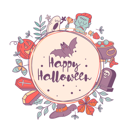 Happy Halloween. Vector illustration. The invitation to the party. A wreath of autumn leaves, tombstones, Frankenstein's head, scary pumpkins, a Ghost and a cauldron with a magic potion.