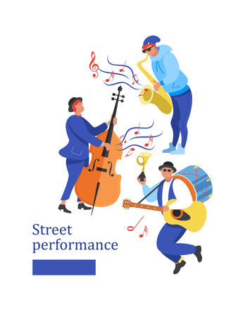 Street performance. Street musician. Man band plays guitar, drum and trumpet. Man playing the double bass. A saxophonist plays the saxophone. Vector illustration.