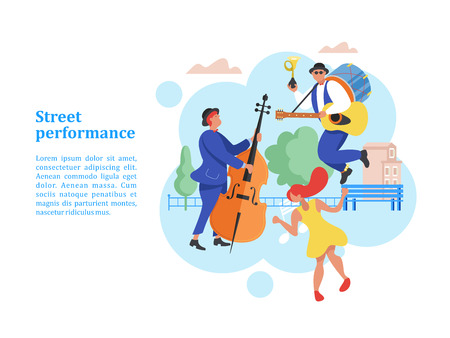 Street performance. Street musician. Man band plays guitar, drum and trumpet. Man playing the double bass. Girl dancing. Vector illustration. Illustration