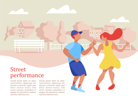 Street performance. Street dancer. Guy and girl dancing on the background of the city landscape. Vector illustration.