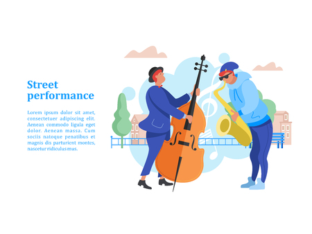 Street performance. Street musician. The guy plays the saxophone. A man playing the contrabass. Vector illustration. Illustration