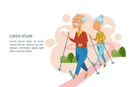 Older people lead an active lifestyle. Old people play sports. An elderly man and an elderly woman are engaged in Nordic walking. Vector illustration.