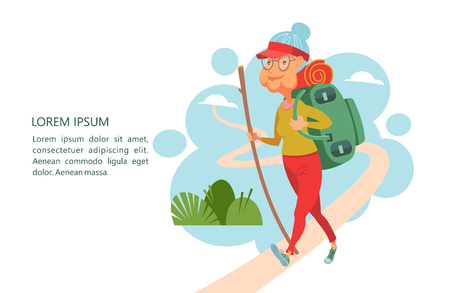 Osoby starsze prowadzą aktywny tryb życia. Starzy ludzie uprawiają sport. Starsza kobieta z plecakiem i kijem jedzie na biwak. Ilustracja wektorowa.