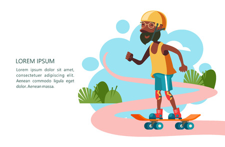 Older people lead an active lifestyle. Old people play sports. Grandpa is skateboarding. Vector illustration.