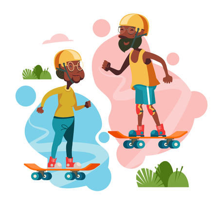 Older people lead an active lifestyle. Elderly skateboarders. An elderly man and a woman riding on skateboards. Vector illustration.