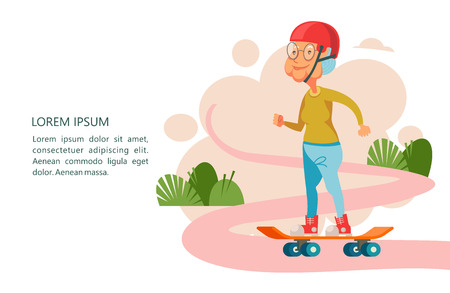 Older people lead an active lifestyle. Old people play sports. An elderly woman riding a skateboard. Vector illustration.