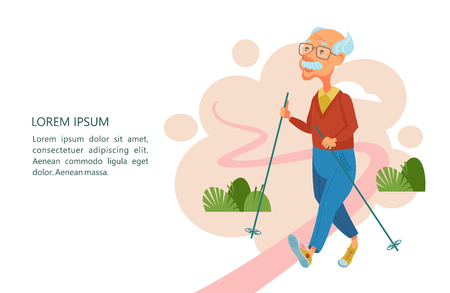 Older people lead an active lifestyle. Old people play sports. An elderly man engaged in Nordic walking. He walks along the path with sticks. Vector illustration.