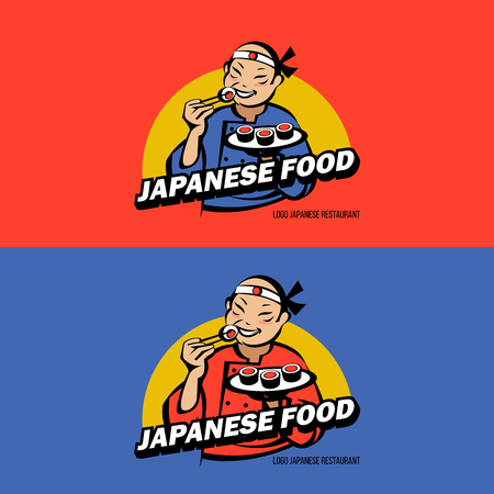 Japanese in kimono to eat sushi and rolls. Vector logo of Japanese restaurant. Sushi restaurant. Fresh seafood. Иллюстрация