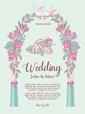 結婚式の招待状。パーゴラピンクの花に白い鳩がトッピングされています。作図結婚指輪の中心に。テキスト用のスペースを含むベクトルイラスト。