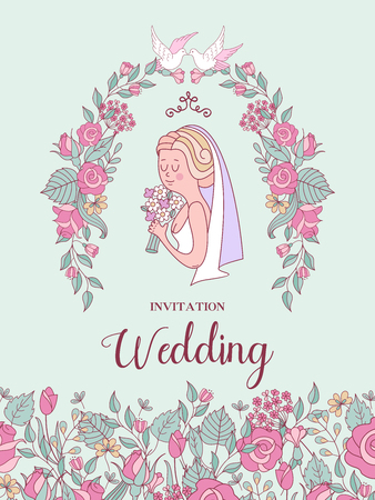 Wedding invitation. Beautiful bride with a bouquet in her hand in a wreath of delicate pink flowers. Vector illustration with space for text.