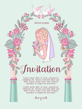 Wedding invitation. Beautiful bride with a bouquet in her hand. Pink pergola topped with white doves. Vector illustration with space for text.