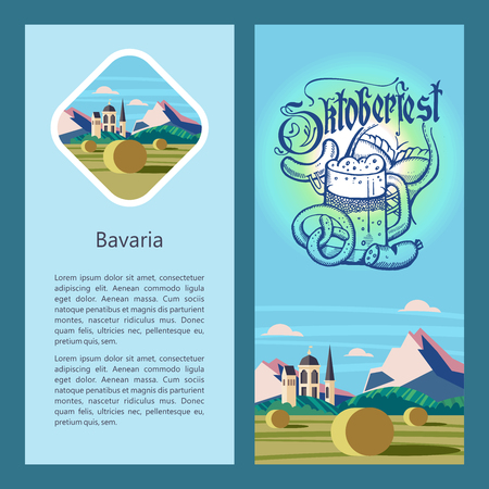 Oktoberfest. Traditional annual beer festival in Germany. Vector illustration. Hand-drawn mug of beer and sausage on the background of the traditional German landscape.