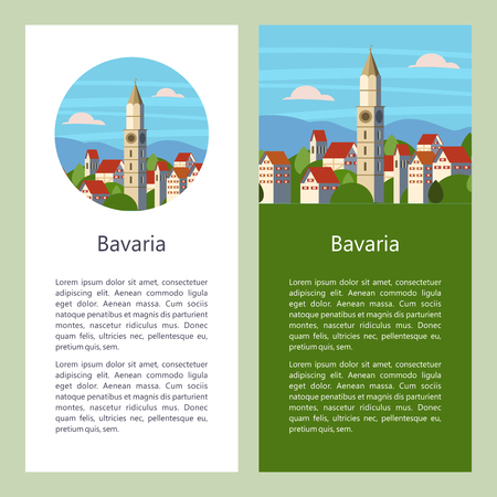 Bavaria, Germany. Beautiful landscapes, traditional architecture of Bavaria. Castles, villages, cities, mountains, fields. Postcards, logos, emblems with space for text.