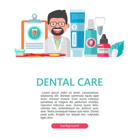 Dental care. Vector illustration in flat style. Friendly dentist doctor. A set of dental tools and equipment. There is room for text.