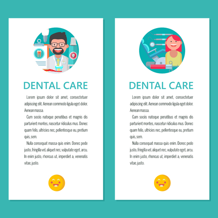 Dental care. Vector illustration in flat style. Friendly dentist and patient with cured tooth. A set of dental tools and equipment. There is room for text.