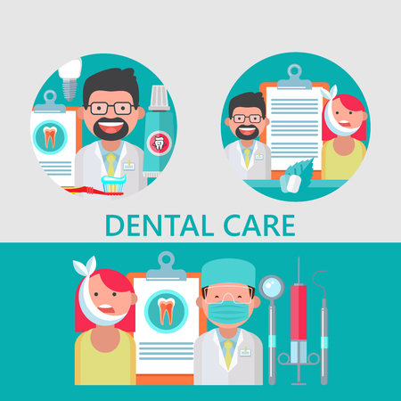 Dental care. Vector illustration in flat style. Friendly dentist and patient with a sick tooth. A set of dental tools and equipment. There is room for text.