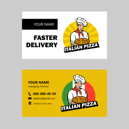 Italian chef holding a delicious pizza. emblem of the pizzeria.. Business card layout.